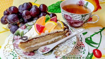 Торт бисквитный с творожным кремом