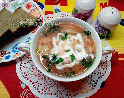 Куриный суп с лапшой и томатным соусом
