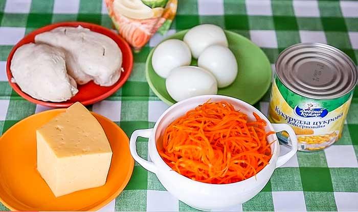 Продукты для салата с корейской морковью и курицей